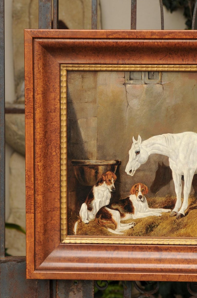 English Signed Framed Oil Barn Scene with White Horse and Hound Dogs, circa 1870 In Good Condition For Sale In Atlanta, GA