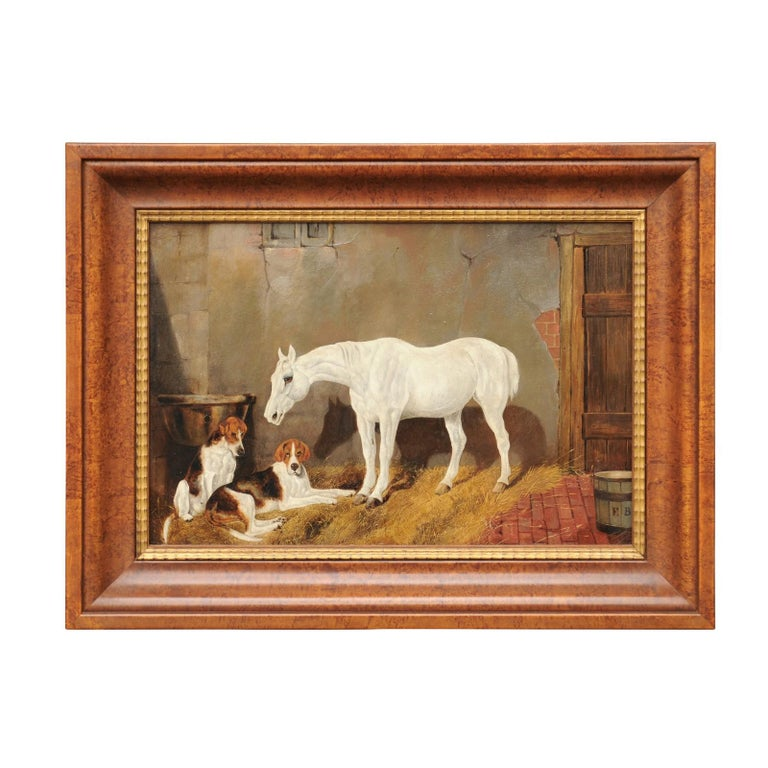 English Signed Framed Oil Barn Scene with White Horse and Hound Dogs, circa 1870 For Sale