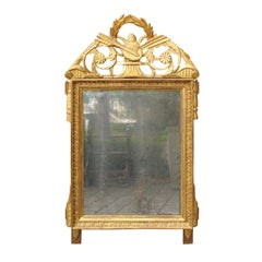 French Louis XVI Late 18th Century Giltwood Mirror with Liberal Arts Motifs
