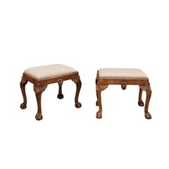 Pair of English Queen Anne Style Walnut Stools with Carved Shells and Upholstery