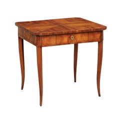 Austrian Biedermeier Walnut Table with Oyster Bookmarked Veneer, circa 1840