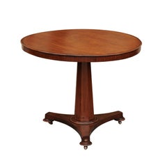 French 1870s Round Walnut Table with Hexagonal Pedestal Base on Casters