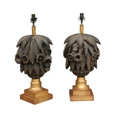 Pair of 1880s Anglo-Indian Table Lamps with Hand Carved Foliage and Floral Décor