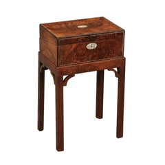English Burl Wood Lap Desk Box on Stand with Mother of Pearl Accents, circa 1850