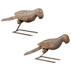 Pair of Italian Carved Wooden Parrots circa 1880, Mounted on Modern Steel Bases