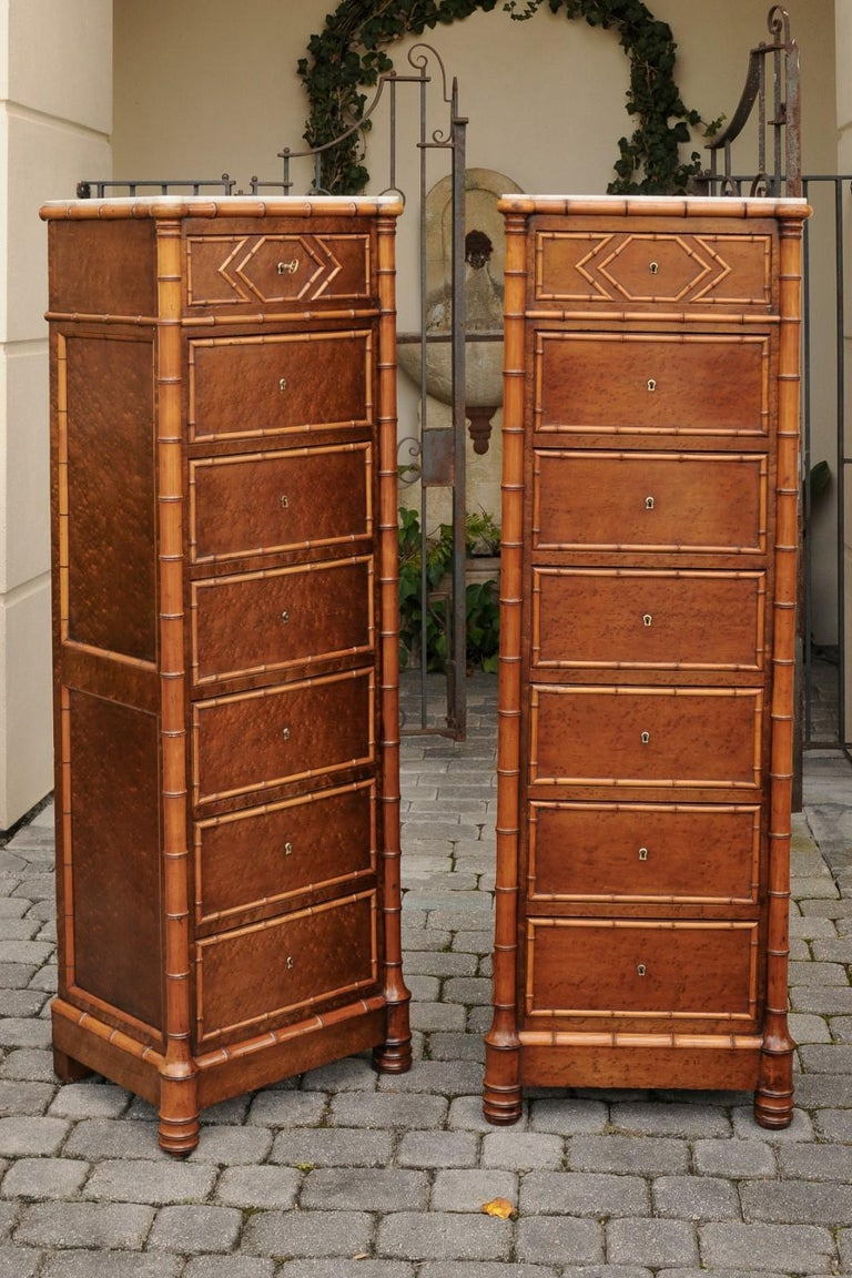 Pair of French, 1870s Faux-Bamboo and Burlwood Semainiers with Marble Tops For Sale 12