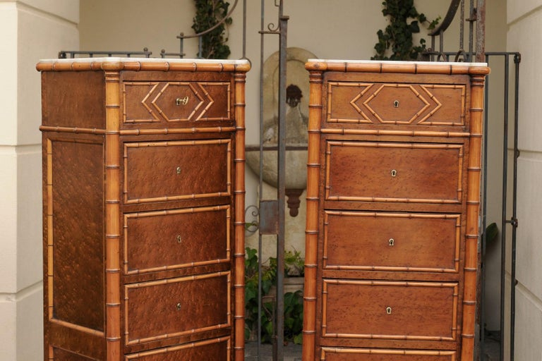 Pair of French, 1870s Faux-Bamboo and Burlwood Semainiers with Marble Tops For Sale 13