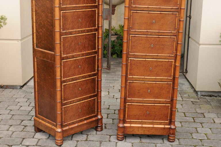 Pair of French, 1870s Faux-Bamboo and Burlwood Semainiers with Marble Tops For Sale 14
