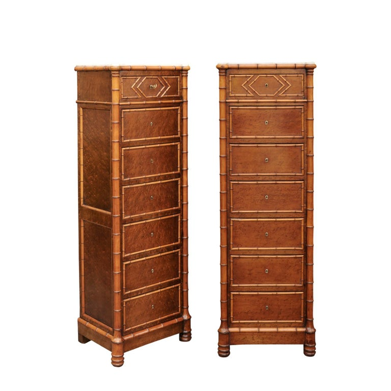 Pair of French, 1870s Faux-Bamboo and Burlwood Semainiers with Marble Tops For Sale