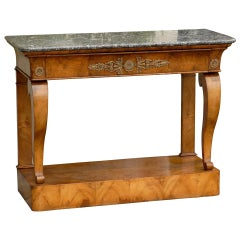 1840s French Louis-Philippe Period Burl Console with One Drawer and Marble Top