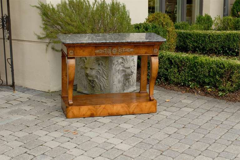 Louis Philippe 1840s French Louis-Philippe Period Burl Console with One Drawer and Marble Top For Sale