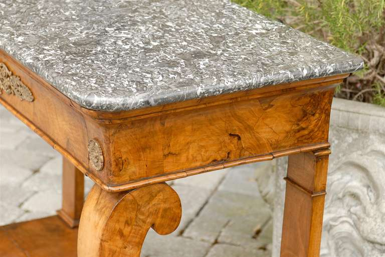Bronze 1840s French Louis-Philippe Period Burl Console with One Drawer and Marble Top For Sale