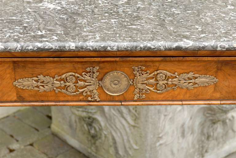 1840s French Louis-Philippe Period Burl Console with One Drawer and Marble Top For Sale 1