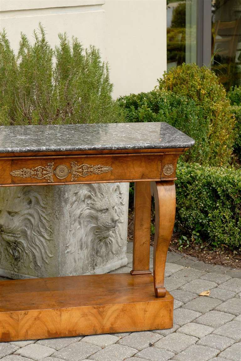 1840s French Louis-Philippe Period Burl Console with One Drawer and Marble Top For Sale 3