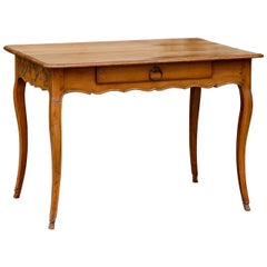 French Louis XV Style Fruitwood Desk with Rinceaux Decorated Sides and Drawer