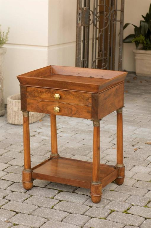 French Empire Walnut Tray Top Table with Drawers, Doric Columns and Bottom Shelf In Good Condition For Sale In Atlanta, GA