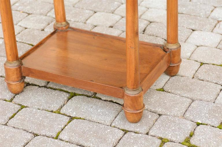 French Empire Walnut Tray Top Table with Drawers, Doric Columns and Bottom Shelf For Sale 3