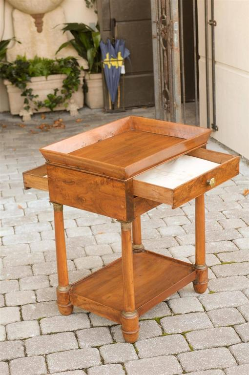 French Empire Walnut Tray Top Table with Drawers, Doric Columns and Bottom Shelf For Sale 5