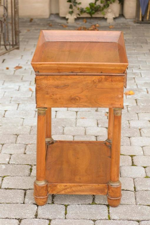French Empire Walnut Tray Top Table with Drawers, Doric Columns and Bottom Shelf For Sale 2