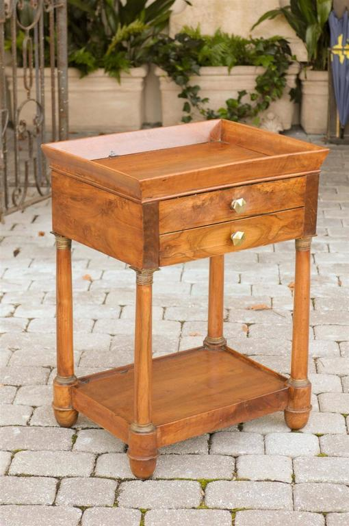 French Empire Walnut Tray Top Table with Drawers, Doric Columns and Bottom Shelf For Sale 4