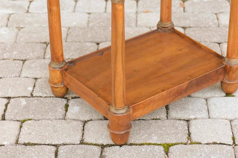 French Empire Walnut Tray Top Table with Drawers, Doric Columns and Bottom Shelf For Sale 1