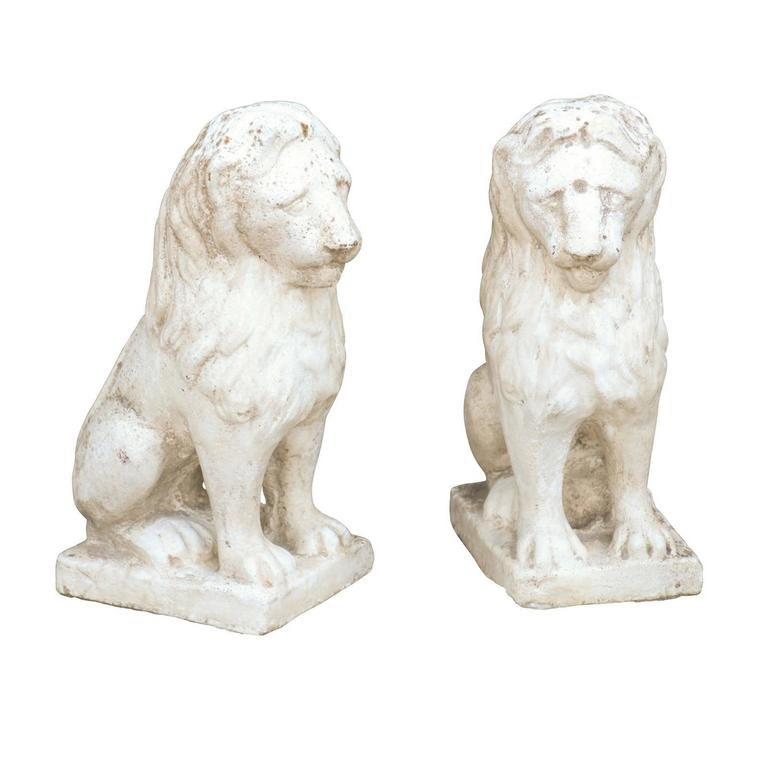 Pair of Petite French Mid Century Modern Lion Sculptures on Bases