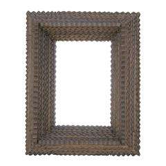 American Tramp Art Mirror with Deep Layered Frame from the Early 20th Century