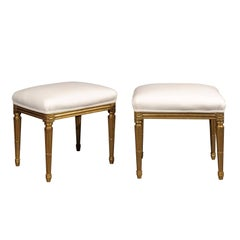 Pair of French Early 20th Century Upholstered Stools with Giltwood Legs