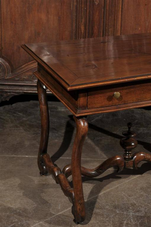 Brass French Mid-19th Century Walnut Side Table, Single Drawer and Carved Stretcher For Sale