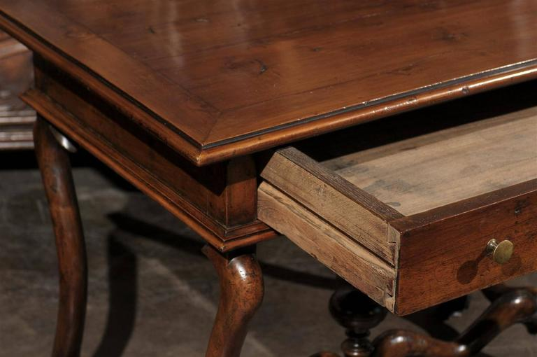 French Mid-19th Century Walnut Side Table, Single Drawer and Carved Stretcher For Sale 3