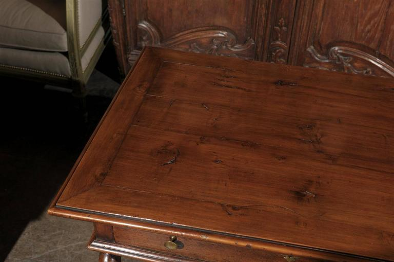 French Mid-19th Century Walnut Side Table, Single Drawer and Carved Stretcher For Sale 1