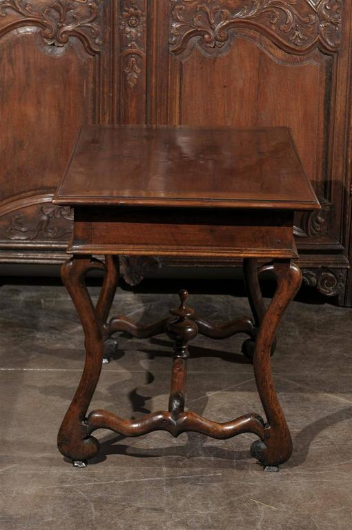 French Mid-19th Century Walnut Side Table, Single Drawer and Carved Stretcher For Sale 6