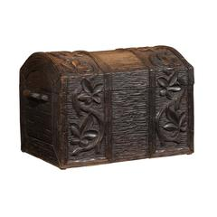 French Carved Wood Black Forest Turn of the Century Trunk with Floral Décor