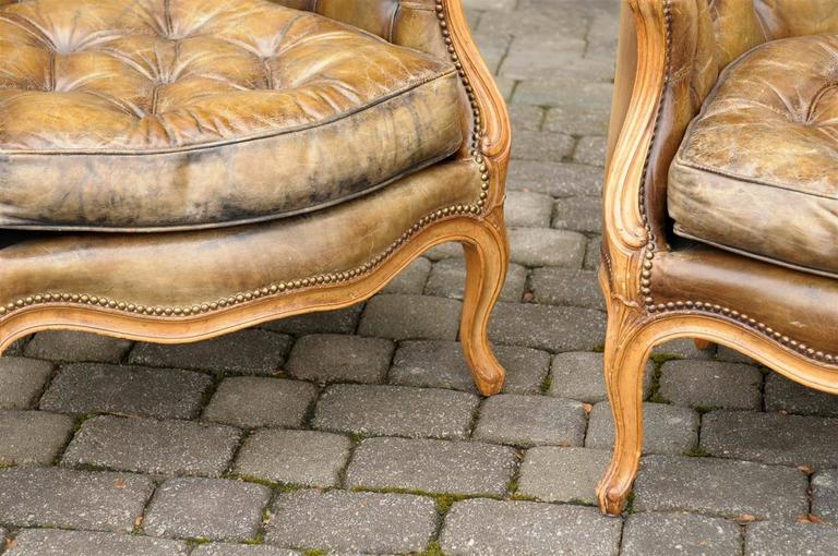 Pair of 1940s French Louis XV Style Tufted Leather Barrel Back Bergeres Chairs For Sale 5