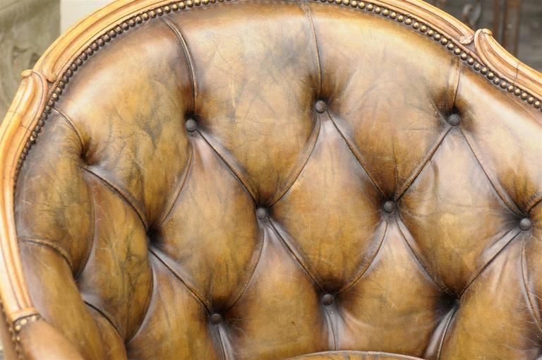Pair of 1940s French Louis XV Style Tufted Leather Barrel Back Bergeres Chairs For Sale 4