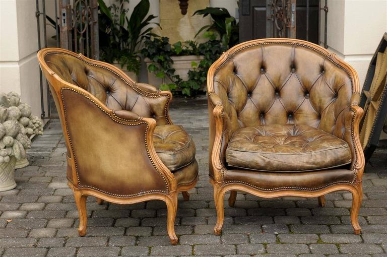 Pair of 1940s French Louis XV Style Tufted Leather Barrel Back Bergeres Chairs For Sale 6