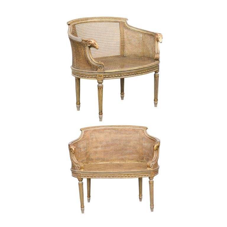 Pair Of French Barrel Back Painted Cane Louis Xvi Style Chairs At 1stdibs