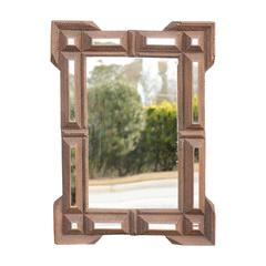 French Tramp Art Mirror from the Turn of the century with Mirrored Side Panels