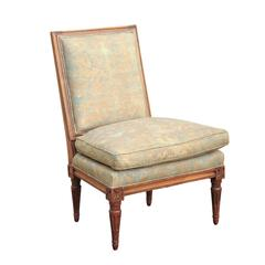 French Slipper Chair with Fortuny