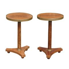 Pair of French Pedestal Drink Tables