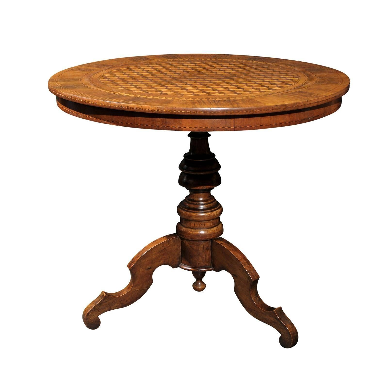 Italian Late 19th Century Round Pedestal Side Table with Cube Parquetry Inlay