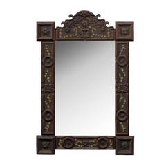 French Tramp Art Mirror with Floral Motifs from the Turn of the Century