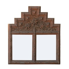 French Tramp Art Mirror with Stepped Pyramidal Crest and Star Motifs, circa 1900