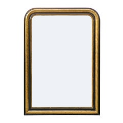French Gilded and Ebonized Wood Louis-Philippe Style Mirror, circa 1900