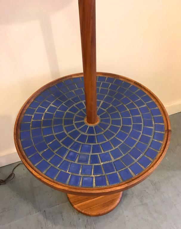 Blue Circular Tile-Top Jane and Gordon Martz / Marshall Studios Floor Lamp 4