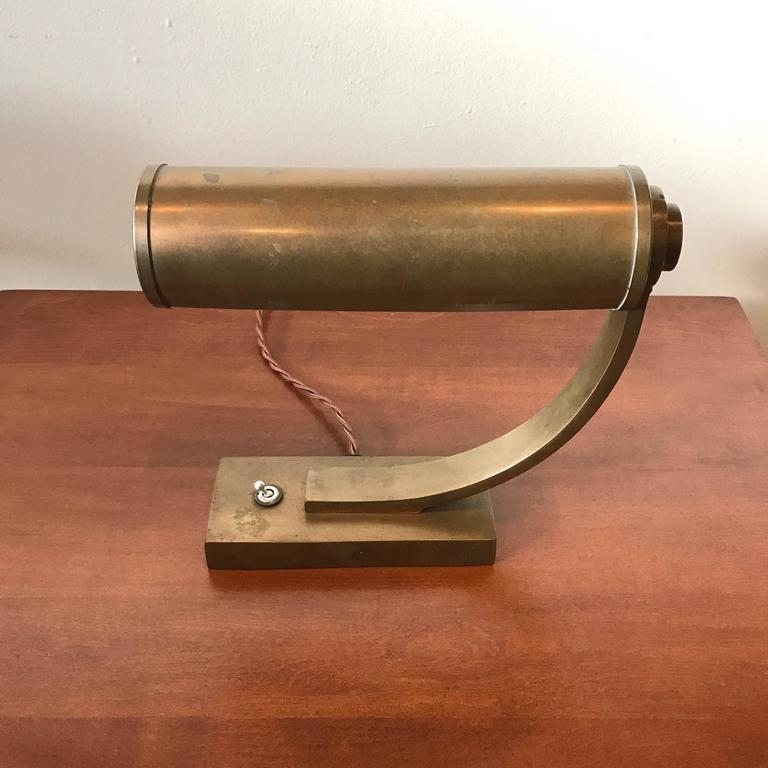 Brass Machine Age Desk Lamp 4