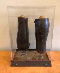 """Mixed Media Abstract Sculpture Bay Area Artist Scott Davis Lll """"Twins"""" 1991"""
