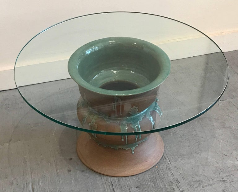 1970s Studio Ceramic and Glass Side Table 4