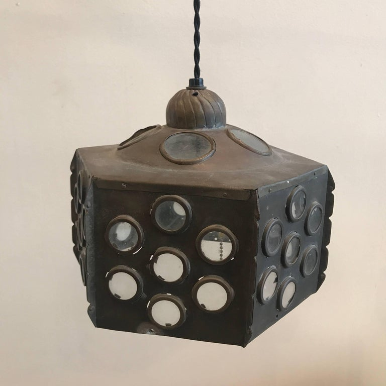 Patinated Brass Hanging Lamp 4