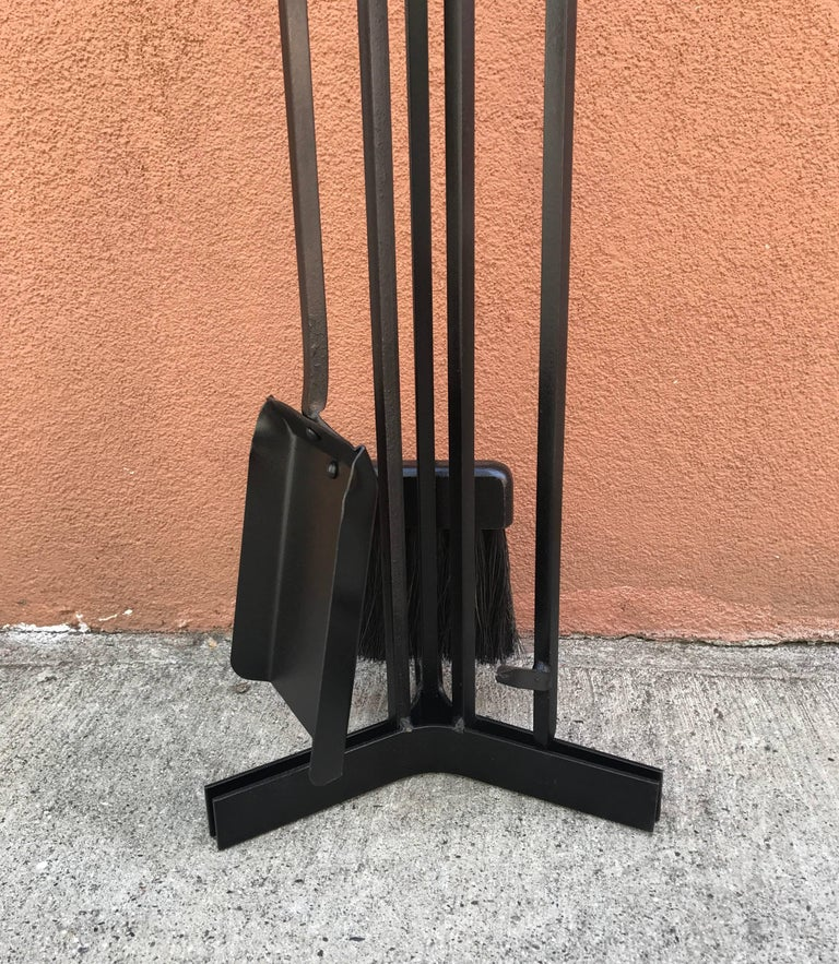 American Modern Iron and Wood Fireplace Tools 5